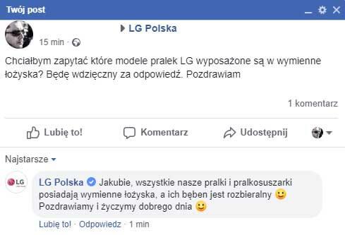 LG Polska zapewnia, że wszystkie pralki posiadają wymienne łożyska