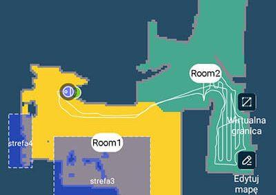 Mapa odkurzania w aplikacji Tefal X-Plorer Serie 95