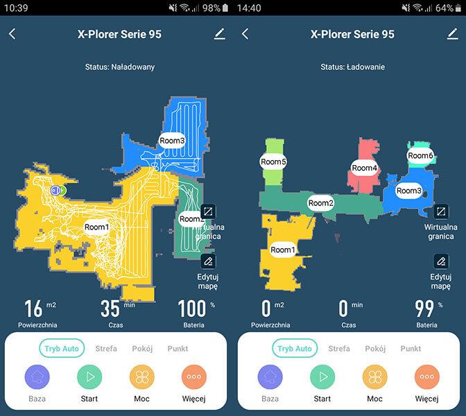 Rysowanie mapy pomieszczenia Tefal X-Plorer Serie 95