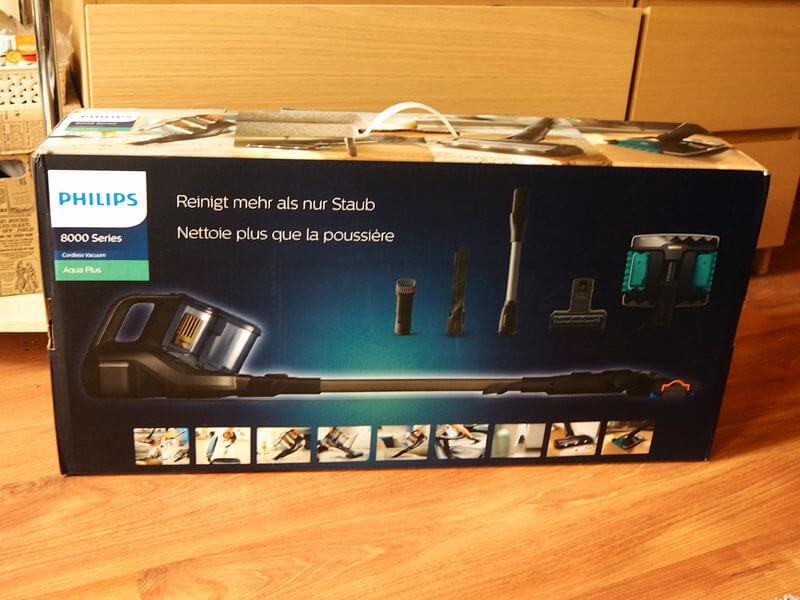 Tył opakowania odkurzacza Philips 8000 Aqua Plus XC8349/01